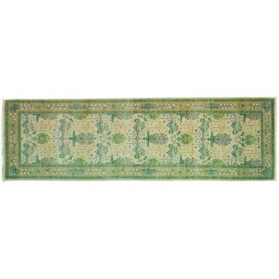 One-of-a-Kind Arts and Crafts Hand-Knotted Beige/Green Area Rug