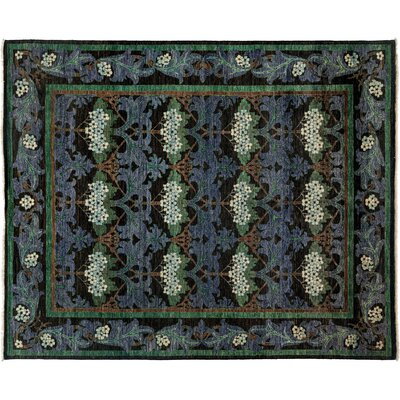 One-of-a-Kind Arts and Crafts Hand-Knotted Black/Purple Area Rug