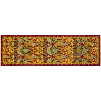 Arts and Crafts Hand-Knotted Yellow Area Rug