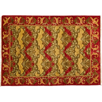 Arts and Crafts Hand-Knotted Red Area Rug