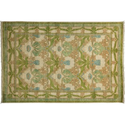 One-of-a-Kind Arts and Crafts Hand-Knotted Ivory Area Rug