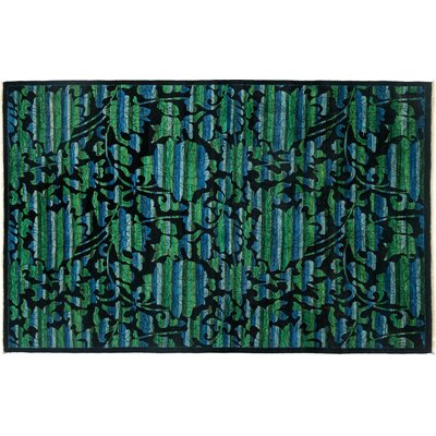 Arts and Crafts Hand-Knotted Green/Black Area Rug