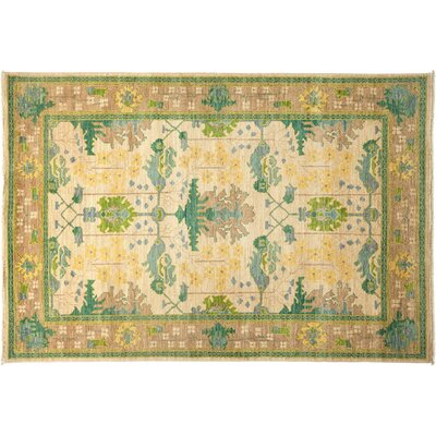 Arts and Crafts Hand-Knotted Ivory Area Rug
