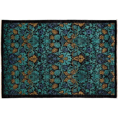 One-of-a-Kind Arts and Crafts Hand-Knotted Green Area Rug