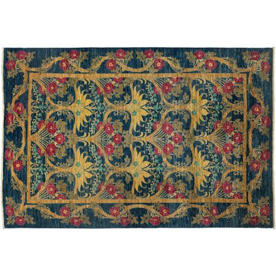 Arts and Crafts Hand-Knotted Blue Area Rug Rug Size: 510 x 810