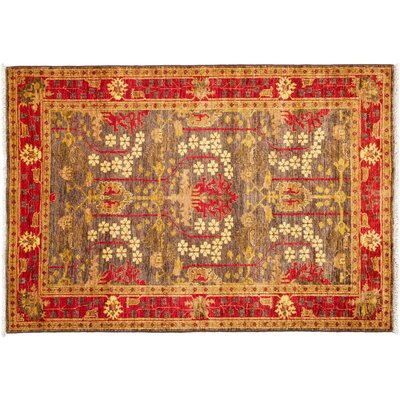 Arts and Crafts Hand-Knotted Brown Area Rug