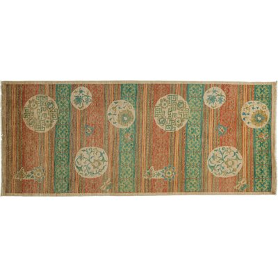 Arts and Crafts Hand-Knotted Orange/Green Area Rug