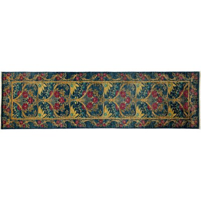 Arts and Crafts Hand-Knotted Blue Area Rug Rug Size: Runner 29 x 95