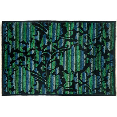 Arts and Crafts Hand-Knotted Black Area Rug