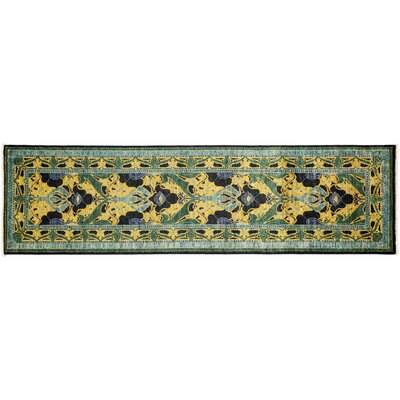 Arts and Crafts Hand-Knotted Black/Green Area Rug
