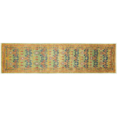 One-of-a-Kind Arts and Crafts Hand-Knotted Yellow Area Rug
