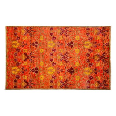 Arts and Crafts Hand-Knotted Orange Area Rug
