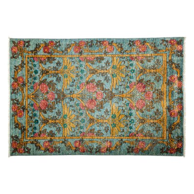 Arts and Crafts Hand-Knotted Blue Area Rug