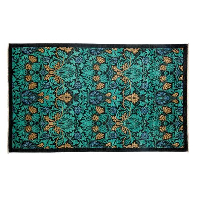 Arts and Crafts Hand-Knotted Green Area Rug