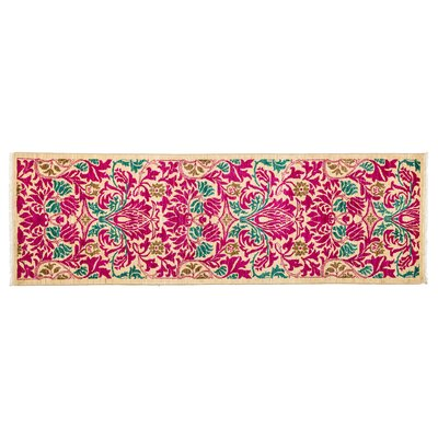 One-of-a-Kind Arts and Crafts Hand-Knotted Pink Area Rug Rug Size: Runner 27 x 8