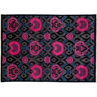 Arts and Crafts Hand-Knotted Black/Pink Area Rug