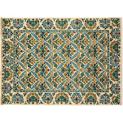 One-of-a-Kind Arts and Crafts Hand-Knotted Ivory/Green Area Rug