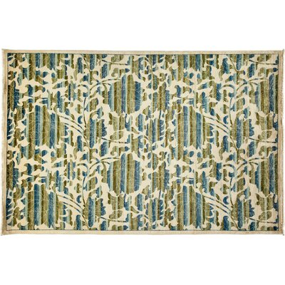 Arts and Crafts Hand-Knotted Ivory/Green Area Rug