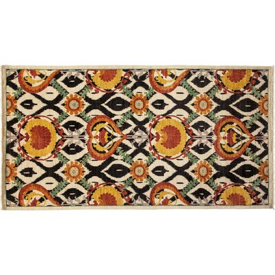 Arts and Crafts Hand-Knotted Ivory/Black Area Rug