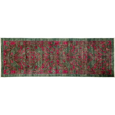 One-of-a-Kind Arts and Crafts Hand-Knotted Green/Red Area Rug