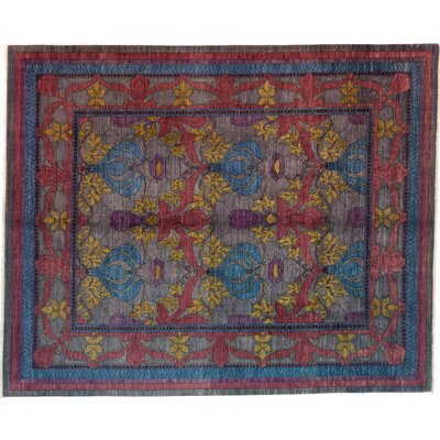 One-of-a-Kind Arts and Crafts Hand-Knotted Blue/Yellow Area Rug