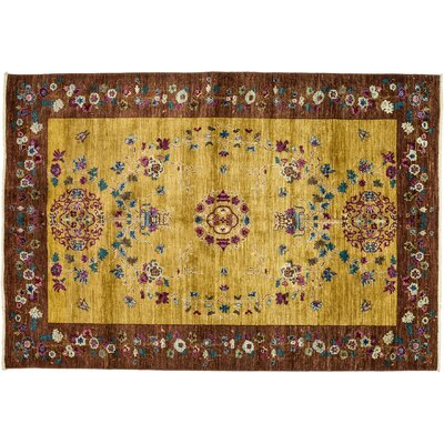 One-of-a-Kind Eclectic Hand-Knotted Yellow/Brown Area Rug