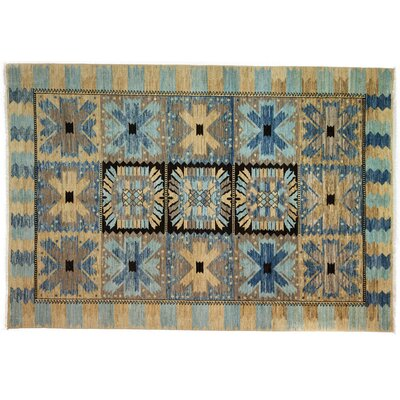 Eclectic Hand-Knotted Blue/Brown Area Rug