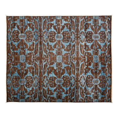One-of-a-Kind Eclectic Hand-Knotted Brown Area Rug