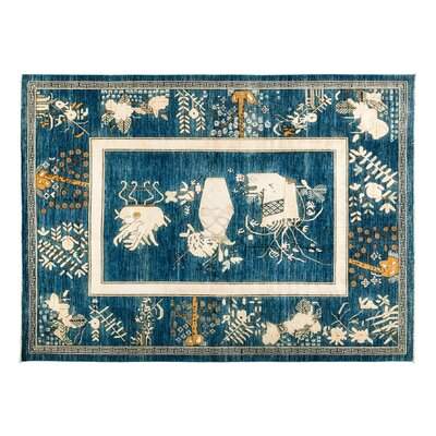 Eclectic Hand-Knotted Blue Area Rug