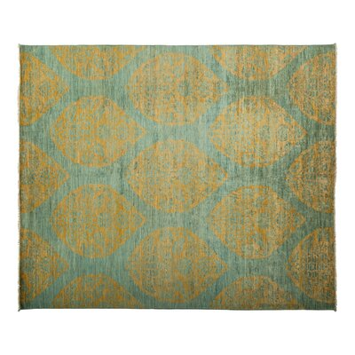 Eclectic Hand-Knotted Green Area Rug