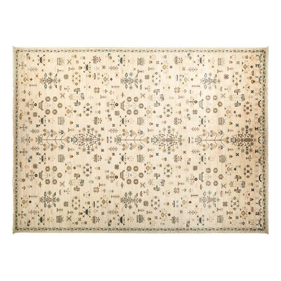 Eclectic Hand-Knotted Ivory Area Rug