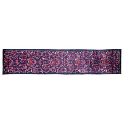 Eclectic Hand-Knotted Purple Area Rug