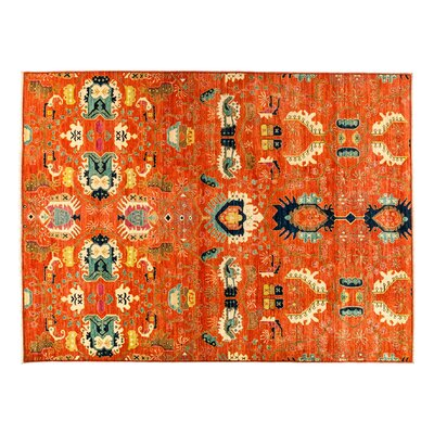 Eclectic Hand-Knotted Orange Area Rug