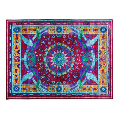 Eclectic Hand-Knotted Red/Blue Area Rug