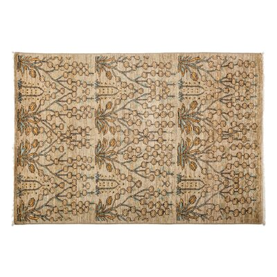Eclectic Hand-Knotted Brown Area Rug