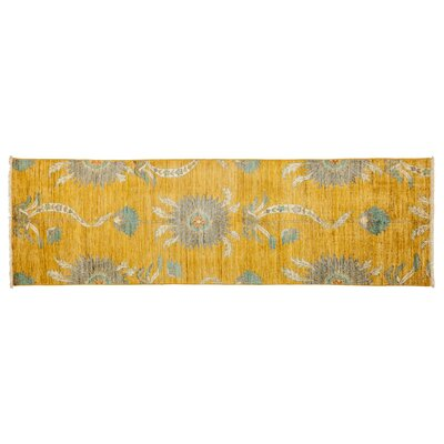Eclectic Hand-Knotted Yellow Area Rug