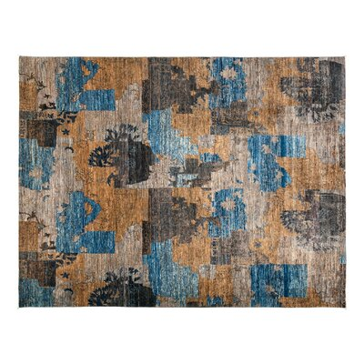 One-of-a-Kind Eclectic Hand-Knotted Beige/Blue Area Rug