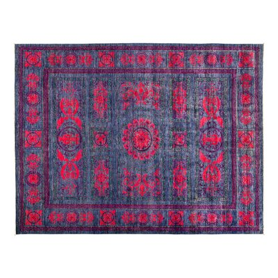 One-of-a-Kind Eclectic Hand-Knotted Purple Area Rug