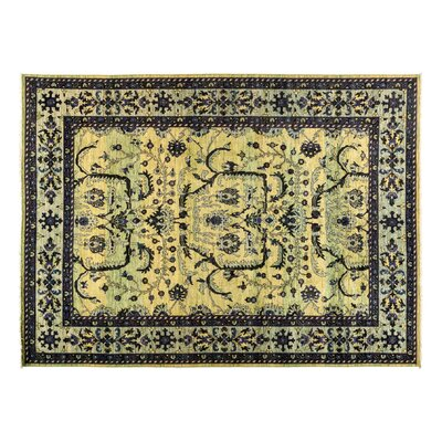 One-of-a-Kind Eclectic Hand-Knotted Green Area Rug