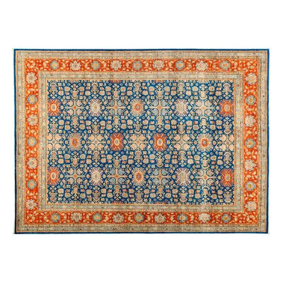 One-of-a-Kind Eclectic Hand-Knotted Blue Area Rug