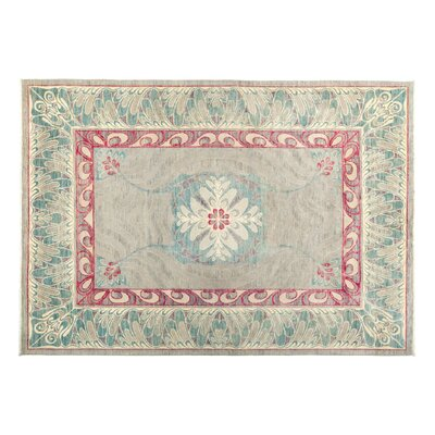 One-of-a-Kind Eclectic Hand-Knotted Green/Red Area Rug