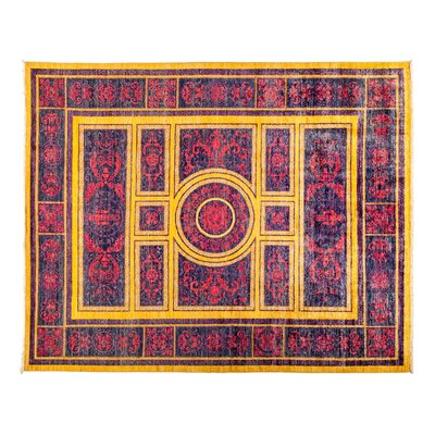 One-of-a-Kind Eclectic Hand-Knotted Yellow/Purple  Area Rug