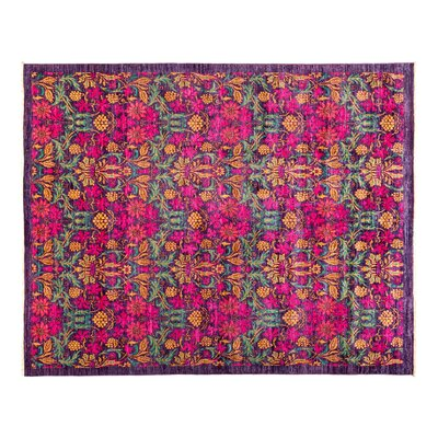 Eclectic Hand-Knotted Pink Area Rug