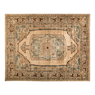 Eclectic Hand-Knotted Beige Area Rug