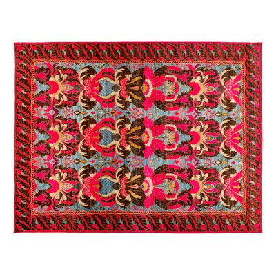 One-of-a-Kind Eclectic Hand-Knotted Pink Area Rug