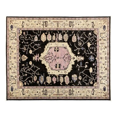 One-of-a-Kind Eclectic Hand-Knotted Black Area Rug