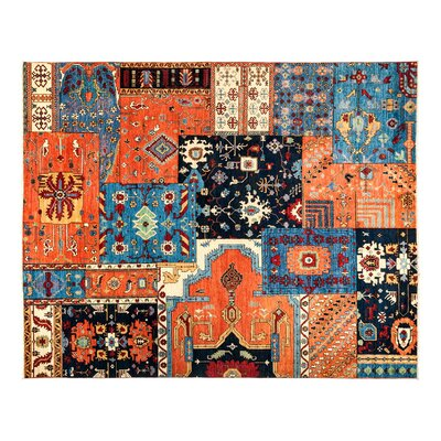 Eclectic Hand-Knotted Blue/Orange Area Rug