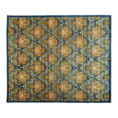 Eclectic Hand-Knotted Blue/Green Area Rug