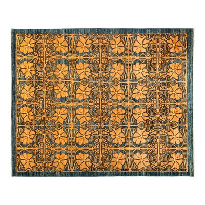 One-of-a-Kind Eclectic Hand-Knotted Yellow Area Rug