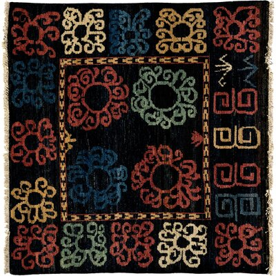 Kaitag Hand-Knotted Black Area Rug